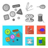 Buttons, pins, coil and thread.Sewing or tailoring tools set collection icons in monochrome,flat style vector symbol. Stock illustration Stock Photos