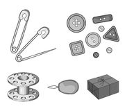 Buttons, pins, coil and thread.Sewing or tailoring tools set collection icons in monochrome style vector symbol stock. Illustration Royalty Free Stock Images
