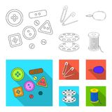 Buttons, pins, coil and thread.Sewing or tailoring tools set collection icons in outline,flat style vector symbol stock. Illustration Royalty Free Stock Photography