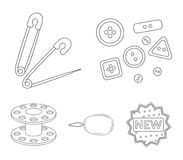 Buttons, pins, coil and thread.Sewing or tailoring tools set collection icons in outline style vector symbol stock. Illustration Royalty Free Stock Image