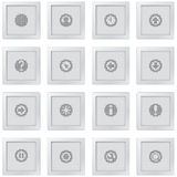 Buttons with pixel drawn interface symbols Stock Photo