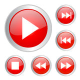 Buttons play. Set of button icons isolated on white background Stock Images