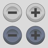 Buttons plus or minus icons. Set of icons on a theme buttons plus or minus Stock Photo