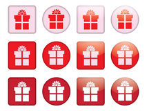 Buttons with present box Royalty Free Stock Photography