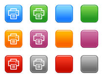Buttons with print icon. Vector web icons, color square buttons series