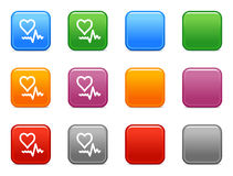Buttons with pulse icon Stock Photo