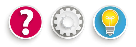 3 Buttons Question Gear Wheel Idea Bulb. Idea concept buttons on the white background Stock Image