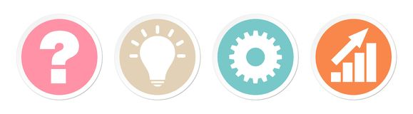 Buttons Question Idea Work And Success Retro Colors stock illustration