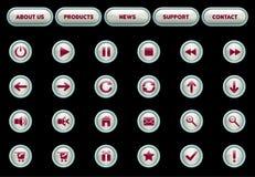 buttons röd vektorrengöringsduk vit Arkivbilder