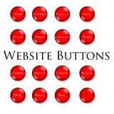 buttons röd website Royaltyfri Bild