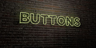 BUTTONS -Realistic Neon Sign on Brick Wall background - 3D rendered royalty free stock image Royalty Free Stock Images