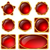 Buttons with red gems, set Royalty Free Stock Photo
