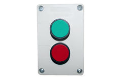 Buttons red and green on the panel Royalty Free Stock Images