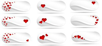 Buttons with red hearts Stock Photo