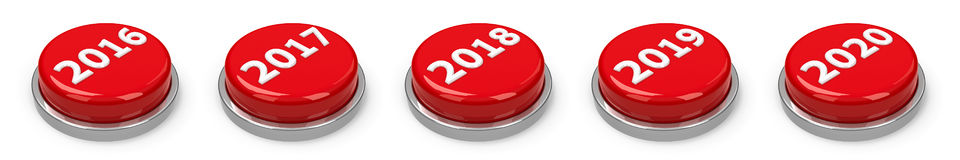 Buttons - 2016 2017 2018 2019 2020 Royalty Free Stock Image