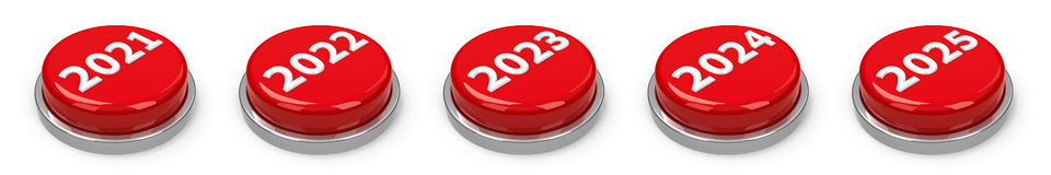 Buttons - 2021 2022 2023 2024 2025 vector illustration