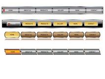 buttons redigerbar metallisk vektorwebsite Arkivbilder