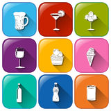 Buttons with refreshing drinks Stock Photography