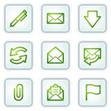 buttons rengöringsduk för fyrkant för serie för e-symbolspost vit Arkivbilder