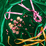 Buttons and ribbons on fabric Stock Photos