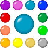 Buttons - round. Round buttons for web design and presentations in 12 bright colors vector illustration