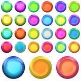 Buttons round shining, set Royalty Free Stock Image