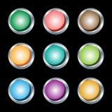 buttons rund silverrengöringsduk för metalliska kanter Royaltyfri Foto