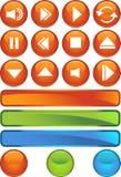 buttons runt blankt för multimedior Arkivbilder