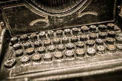 Vintage typewriter. Buttons of rusty vintage typewriter close-up Royalty Free Stock Photos