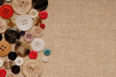 Buttons  on  sackcloth Royalty Free Stock Photos