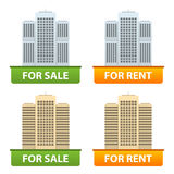 Buttons sale and rent of city apartments Royalty Free Stock Photography
