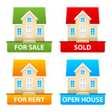 Buttons sale and rent of country houses Stock Images