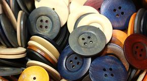 Buttons on sale in the shop of crafts Stock Photography
