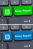 Buttons with sales reports on modern keypad. As financial investment concept Royalty Free Stock Images