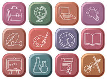 Buttons with school symbols Royalty Free Stock Photography