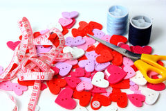 Buttons, scissors and cotton Royalty Free Stock Image