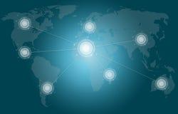 ฺButtons on the screen map world. Stock Photography
