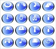 Buttons set. 16 buttons (icons) set for web Stock Image