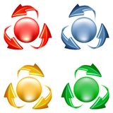 Buttons set with arrows. Buttons set. 3d icon of sphere and arrows in various colors Royalty Free Stock Photo