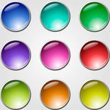 Buttons set. Set of glass buttons for web design Stock Photo