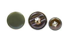 Buttons. Set of three round buttons isolated over white Stock Photo
