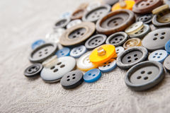 Buttons set on the white cloth Royalty Free Stock Photos