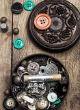 Buttons and sewing accessories Stock Photography