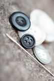Buttons and sewing needle Royalty Free Stock Images