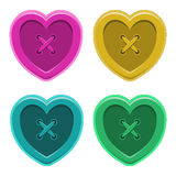 Buttons sewing silhouette hearts set vintage style  isolated obj Royalty Free Stock Photo