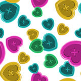 Buttons sewing silhouette set seamless pattern with hearts vinta. Ge style shirt clothing vector illustration with colorful object Stock Photo