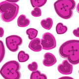 Buttons sewing silhouette set seamless pattern with hearts vinta Stock Photos