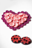 Buttons in shape of heart Royalty Free Stock Photos