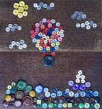 Buttons in shape a hot air balloon Royalty Free Stock Photo
