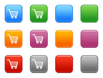 Buttons shopping cart icon. Vector web icons, color square buttons series